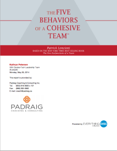 Five Behaviors Profile Report Cover - Padraig Coaching