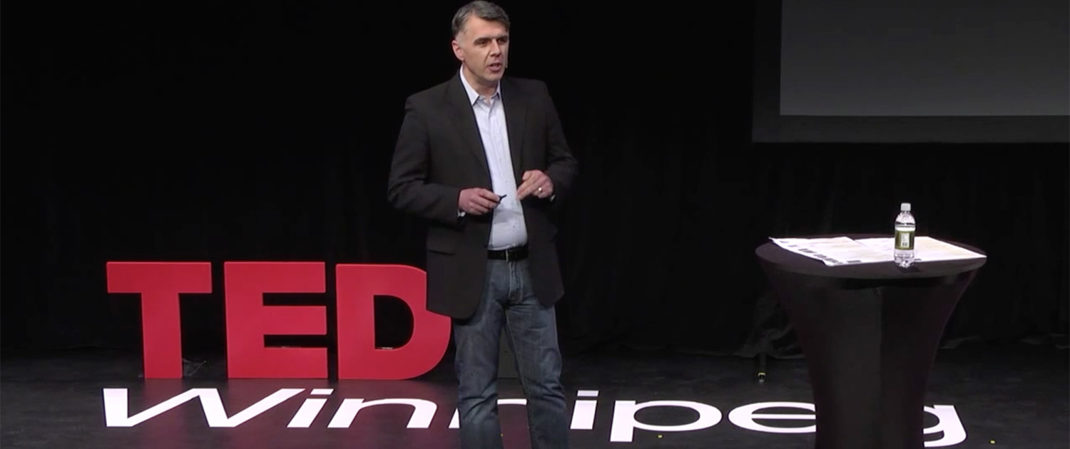 Patrick O'Reilly on the TEDx Winnipeg Stage for The Golden Rule is Wrong