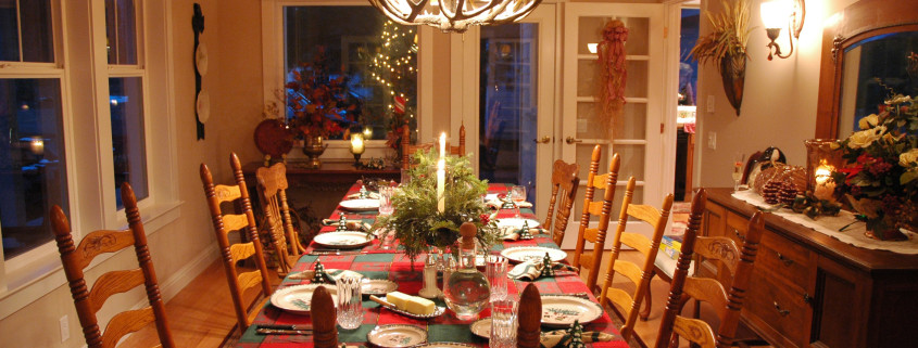 A beautiful table set for Christmas Dinner